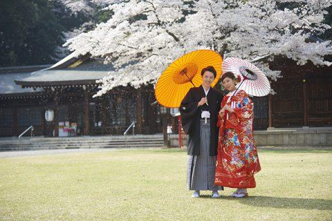 群馬県桜結婚式和婚前撮り