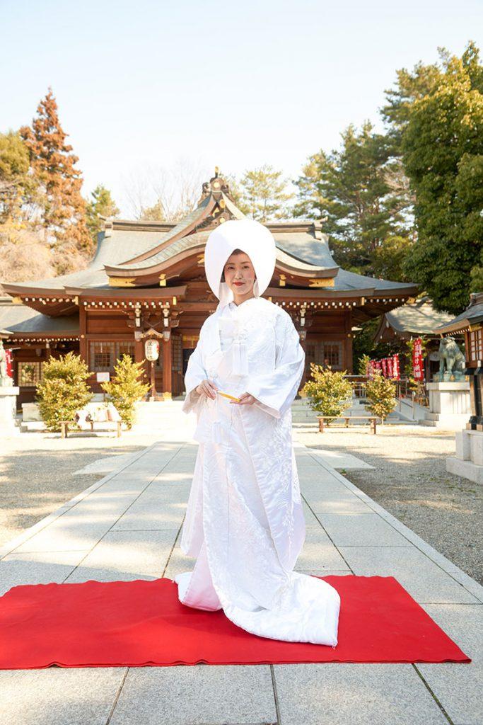 和装白無垢和婚神社結婚式