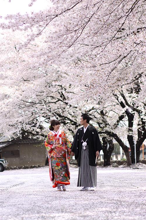 桜和婚色打掛群馬県結婚式