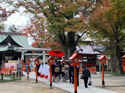 上野総社神社秋の紅葉神前式